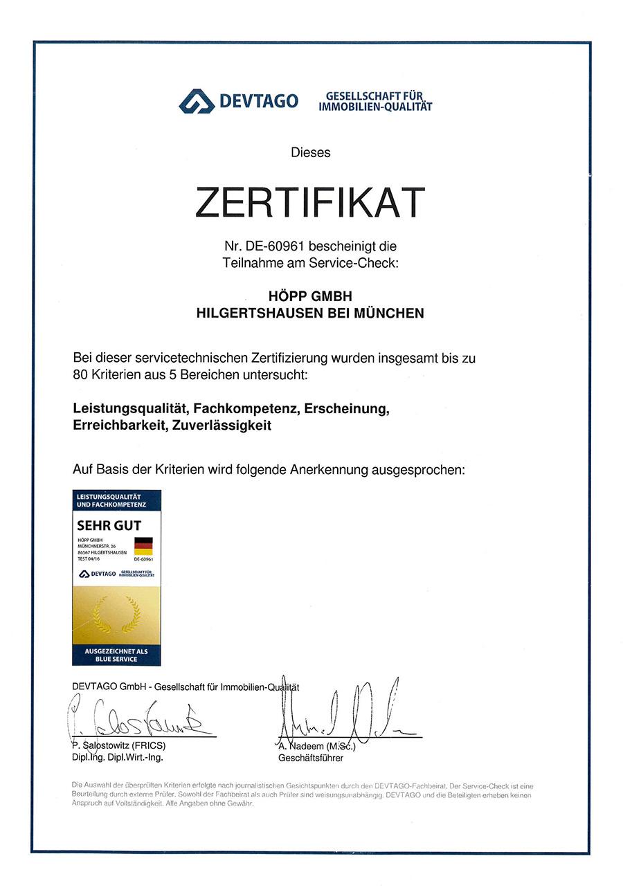Zertifikat DE-60961 HÖPP GmbH